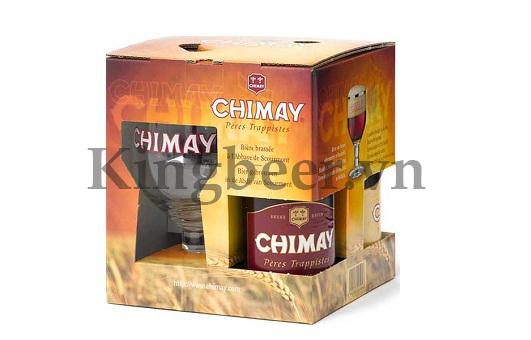 Hộp quà bia Chimay tặng kèm ly mạ vàng 18k cao cấp