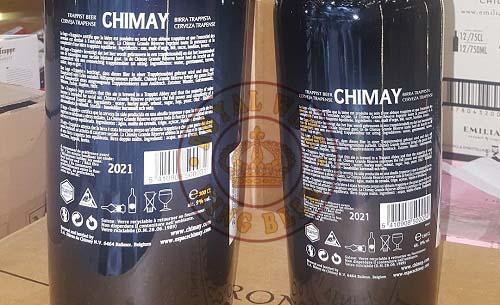 Bia Chimay xanh 3 lít mặt sau