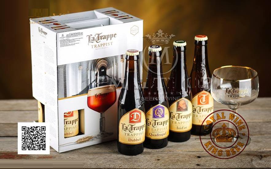 Set quà bia la trappe 330ml gồm 4 chai và 1 ly
