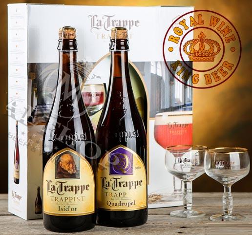 La Trappe Isidor và La Trappe Tripel trong bộ quà tặng kèm 2 ly